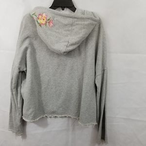 Betsy Johnson, embroidered floral, gray hoodie